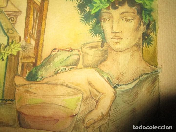 Arte: acuarela alegoria DIOS VINO BACO PRINCIPIOS DE SIGLO FIRMA DA CIRCULO PROXIMO A G. CASTELLO ALICANTE - Foto 17 - 247655785