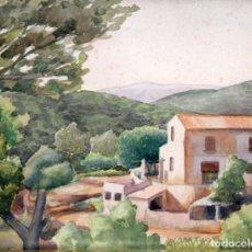Arte: LLUIS PUIG BARELLA (BARCELONA, 1894 - 1984) ACUARELA SOBRE PAPEL. PAISAJE. Lote 248587335