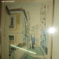 Arte: JOSE GUTIERREZ LOPEZ PETEN PINTURA ANTIGUA ALICANTINA ACUARELA CALLE DE ALICANTE FIRMADA EN 1983. Lote 222195631