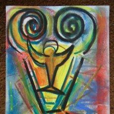 Arte: CARAS POR EL CHANO MIDE 32 X 24CM. ART-BRUT ÓLEO SOBRE CARTULINA FIRMADO EL CHANO - BERNARDO CARRO. Lote 248771955
