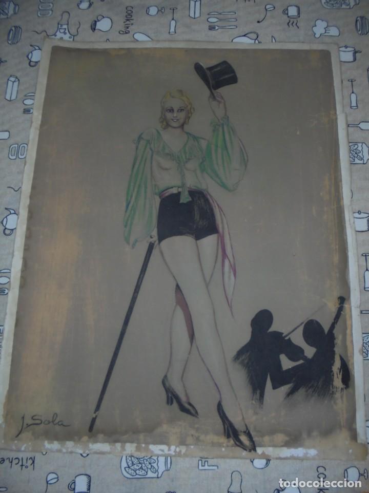 MAGNIFICA ANTIGUA ACUARELA ART DECO SOBRE PAPEL SOBRE 1920 (Arte - Acuarelas - Contemporáneas siglo XX)