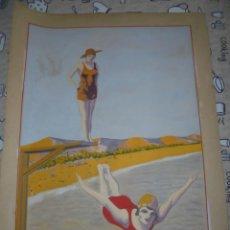 Arte: MAGNIFICA ANTIGUA ACUARELA ART DECO SOBRE PAPEL SOBRE 1920. Lote 249012885