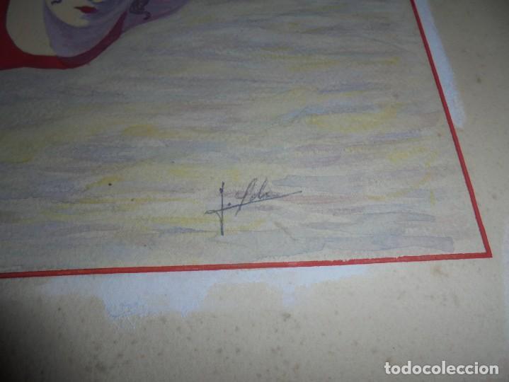 Arte: magnifica antigua acuarela art deco sobre papel sobre 1920 - Foto 5 - 249012885