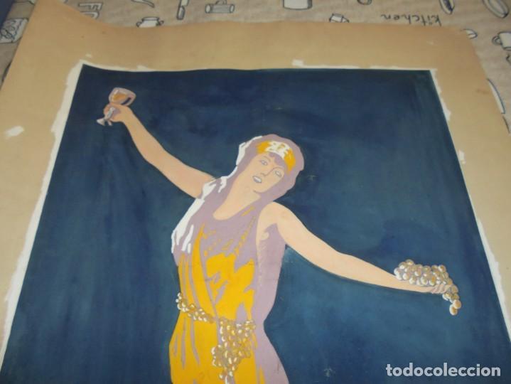 Arte: magnifica antigua acuarela art deco sobre papel sobre 1920 - Foto 2 - 249012970