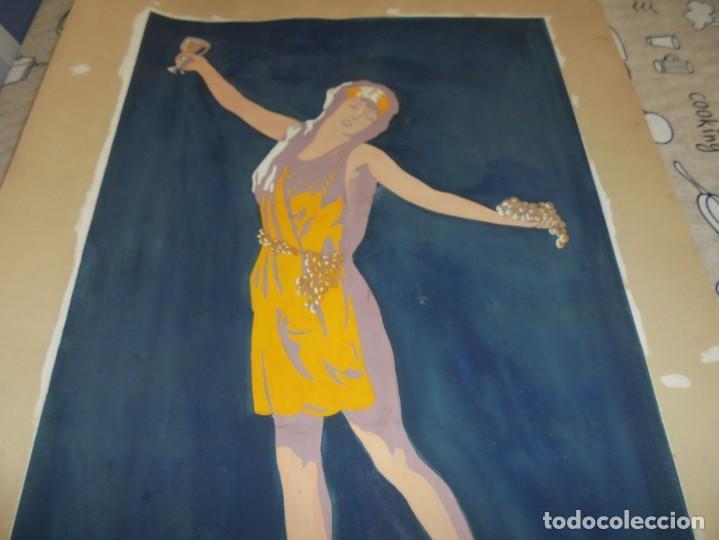 Arte: magnifica antigua acuarela art deco sobre papel sobre 1920 - Foto 3 - 249012970