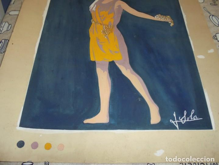 Arte: magnifica antigua acuarela art deco sobre papel sobre 1920 - Foto 4 - 249012970