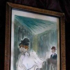 Arte: ACUARELA / * JANE AVRIL DANCING *. VERSIÓN DE LA OBRA DE HENRI TOULOUSE-LAUTREC. FIRMADA; H. RHACÓN. Lote 247494435