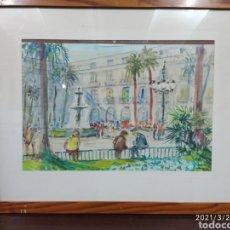 Arte: ACUARELA SOBRE GRAFITO - PLAZA REAL BARCELONA. Lote 249244280