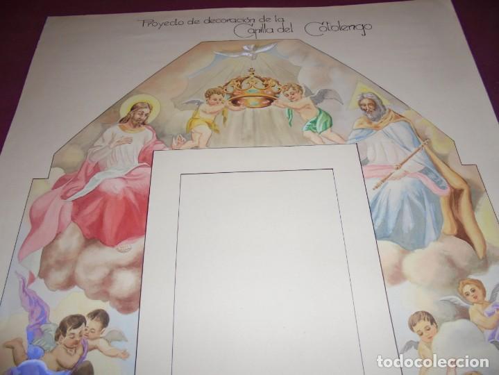 Arte: magnifico antiguo dibujo acuarela proyecto de decoracion de la capilla cottolengo - Foto 3 - 249300695