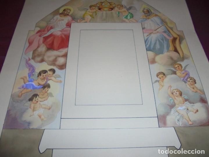 Arte: magnifico antiguo dibujo acuarela proyecto de decoracion de la capilla cottolengo - Foto 4 - 249300695