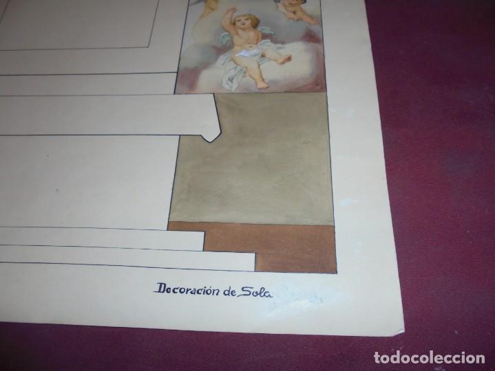 Arte: magnifico antiguo dibujo acuarela proyecto de decoracion de la capilla cottolengo - Foto 5 - 249300695