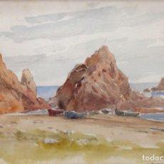 Arte: DOMINGO SOLER GILI (SABADELL, 1871 - 1951) ACUARELA SOBRE PAPEL. TOSSA DE MAR. Lote 249445735
