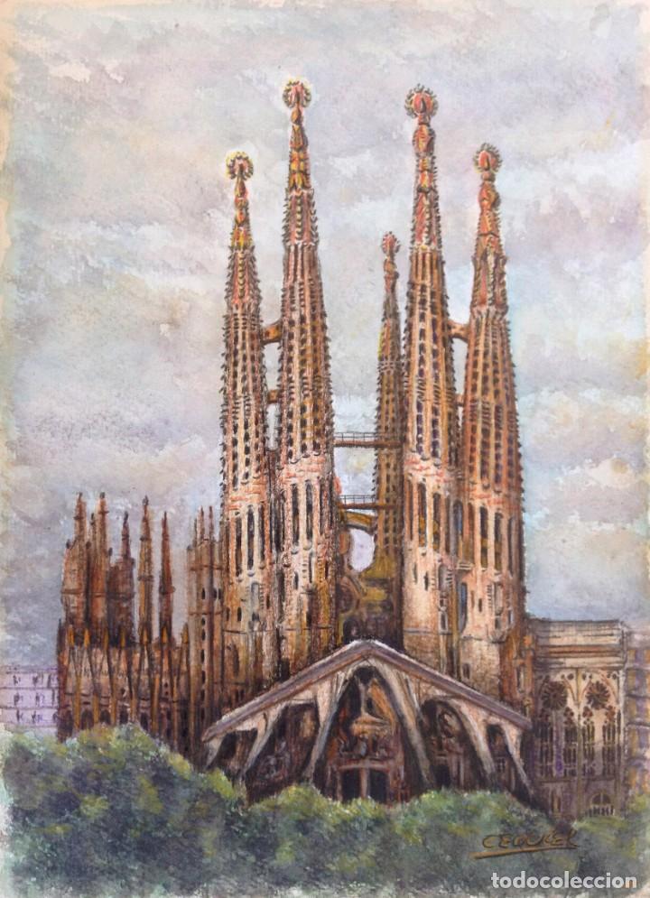 Arte: La Sagrada Familia - Dibujo y acuarela sobre papel 35x25. Firmado Cequiel - Foto 2 - 243892410