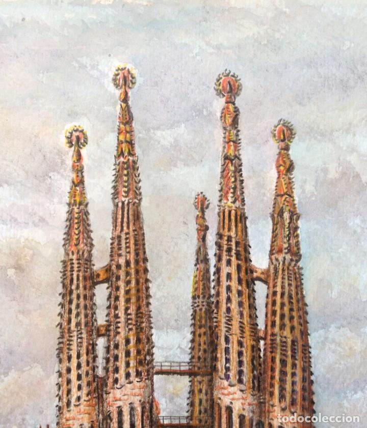 Arte: La Sagrada Familia - Dibujo y acuarela sobre papel 35x25. Firmado Cequiel - Foto 3 - 243892410