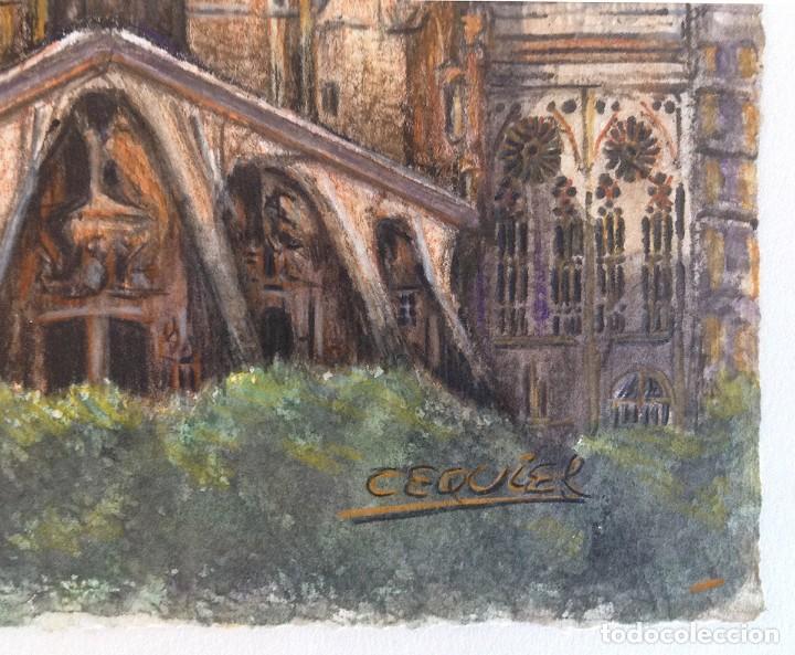Arte: La Sagrada Familia - Dibujo y acuarela sobre papel 35x25. Firmado Cequiel - Foto 4 - 243892410