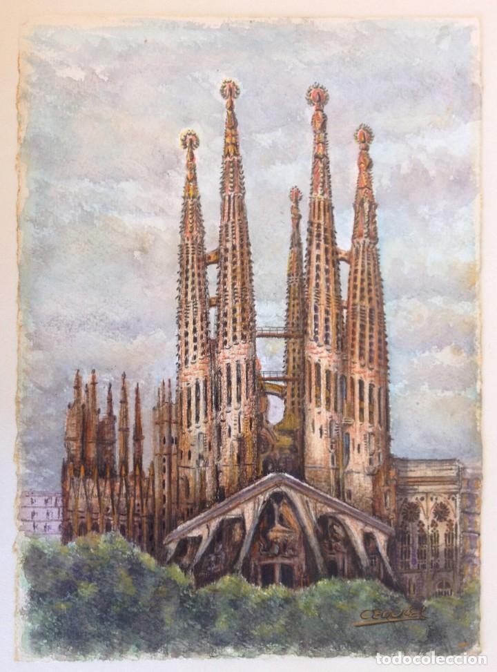 LA SAGRADA FAMILIA - DIBUJO Y ACUARELA SOBRE PAPEL 35X25. FIRMADO CEQUIEL (Arte - Acuarelas - Contemporáneas siglo XX)