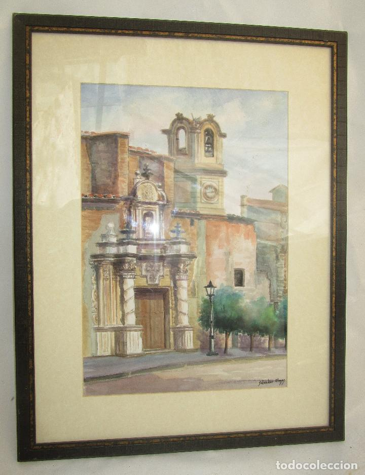 Arte: MARAVILLOSA GRAN ACUARELA ANTIGUA IGLESIA SANTA CATALINA ALCIRA IGLESIA plaza martires - Foto 2 - 249587620