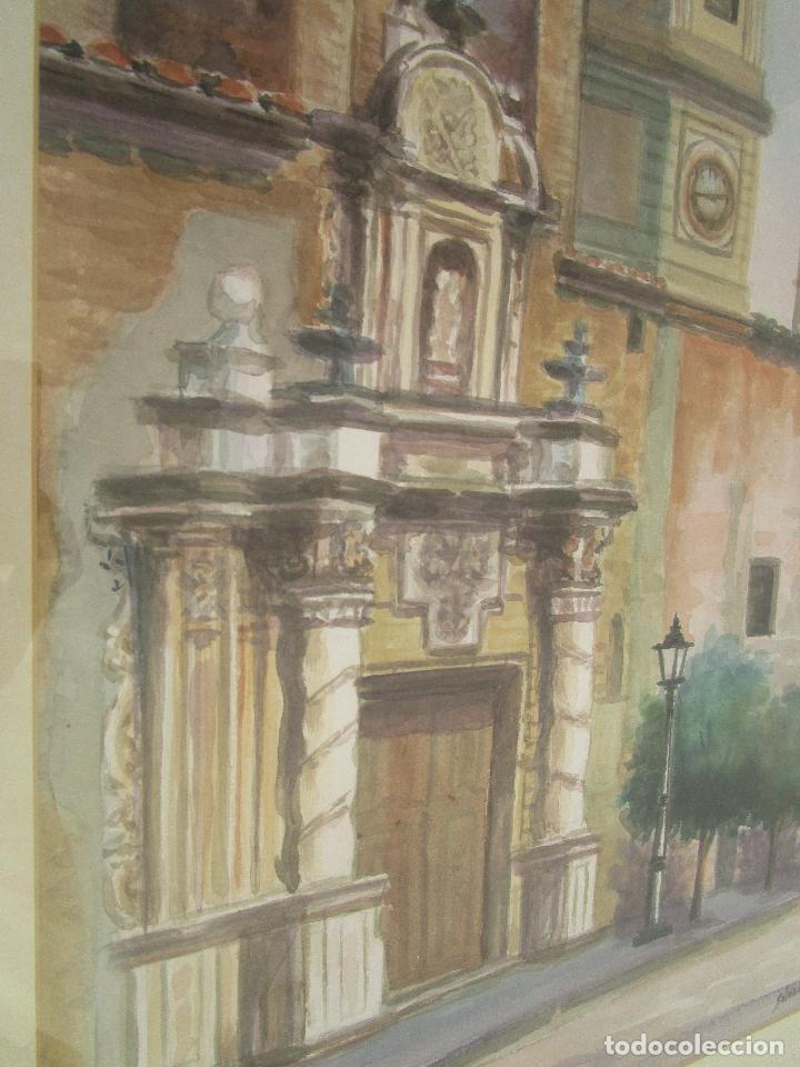 Arte: MARAVILLOSA GRAN ACUARELA ANTIGUA IGLESIA SANTA CATALINA ALCIRA IGLESIA plaza martires - Foto 5 - 249587620