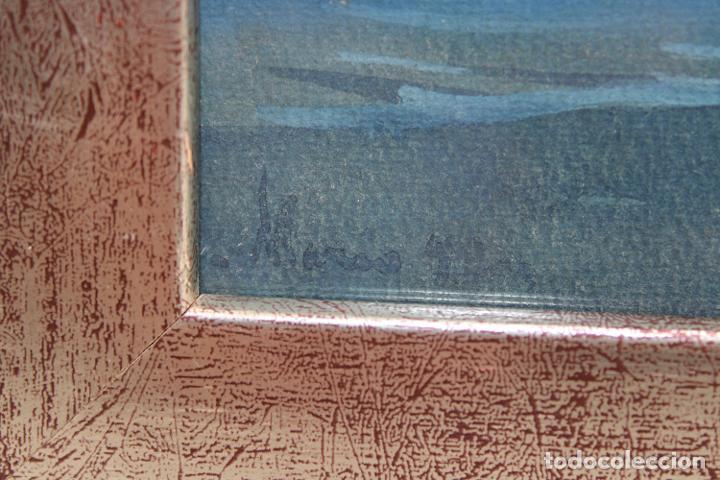 Arte: ILEGIBLE. GOUACHE SOBRE PAPEL. PAISAJE COSTERO - Foto 4 - 251160015