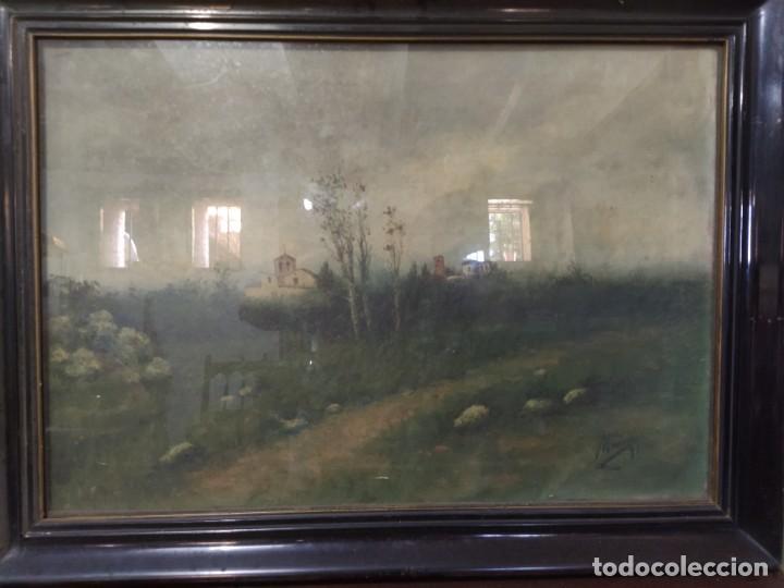 ACUARELA PRADO CON PUEBLO AL FONDO - FIRMADO MARIANI 1991 (Arte - Acuarelas - Contemporáneas siglo XX)