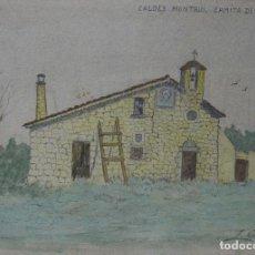 Arte: LOLITA CALLOL CHEVALIER. CALDES DE MONTBUI. ERMITA DE SANT SIMPLICI. 1918. TINTA Y ACUARELA.. Lote 252830005