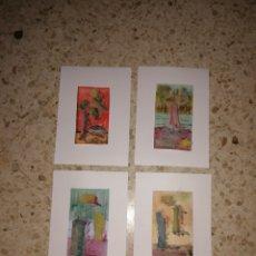 Arte: 4 ACUARELAS CON PAPEL RECORTADO ABSTRACTO MEDIDAS 14.8X21. Lote 253286930