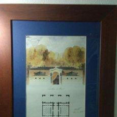 Arte: ANTIGUO CUADRO ,DIBUJO A PLUMILLA Y ACURELA ,ESTUDIO ARQUITECTONICO FRANCIA,1850. Lote 253353085