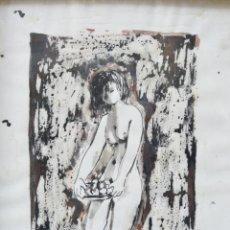 Arte: MARIA CIRICI PELLICER, MUJER CON PLATO DE FRUTA, ACUARELA, 1950'S, FIRMADA, MARCO DE ÉPOCA. 33X22CM. Lote 253639880