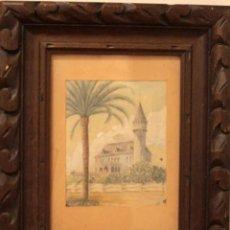 Arte: A. PAYÁ. ANTIGUA ACUARELA SOBRE PAPEL, PALACIO DE RIPALDA, VALENCIA. ENMARCADA 37X30CM. Lote 253925405