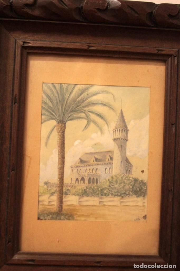 Arte: A. PAYÁ. antigua acuarela sobre papel, palacio de Ripalda, Valencia. Enmarcada 37x30cm - Foto 2 - 253925405