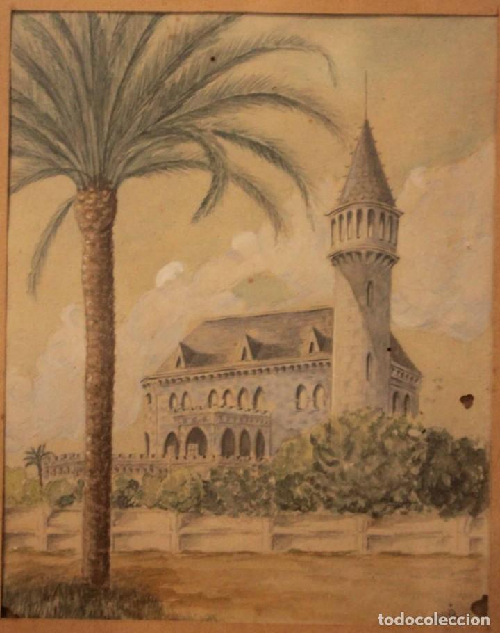 Arte: A. PAYÁ. antigua acuarela sobre papel, palacio de Ripalda, Valencia. Enmarcada 37x30cm - Foto 3 - 253925405