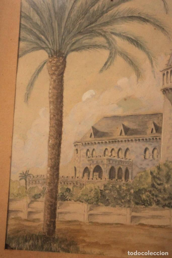 Arte: A. PAYÁ. antigua acuarela sobre papel, palacio de Ripalda, Valencia. Enmarcada 37x30cm - Foto 4 - 253925405