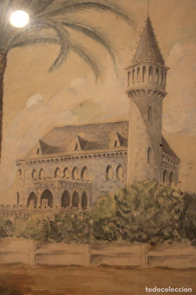 Arte: A. PAYÁ. antigua acuarela sobre papel, palacio de Ripalda, Valencia. Enmarcada 37x30cm - Foto 5 - 253925405