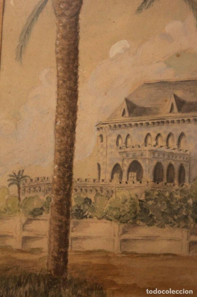 Arte: A. PAYÁ. antigua acuarela sobre papel, palacio de Ripalda, Valencia. Enmarcada 37x30cm - Foto 6 - 253925405