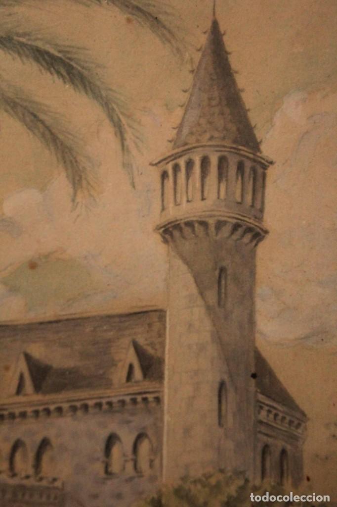 Arte: A. PAYÁ. antigua acuarela sobre papel, palacio de Ripalda, Valencia. Enmarcada 37x30cm - Foto 7 - 253925405