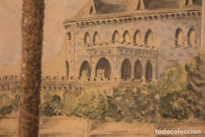 Arte: A. PAYÁ. antigua acuarela sobre papel, palacio de Ripalda, Valencia. Enmarcada 37x30cm - Foto 8 - 253925405