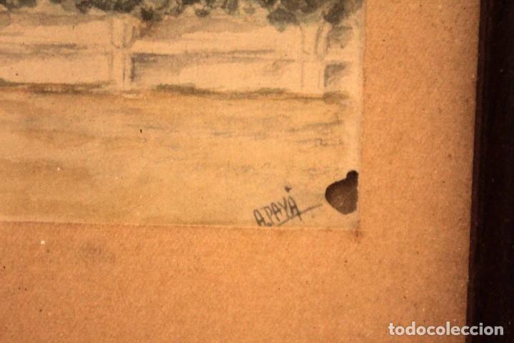 Arte: A. PAYÁ. antigua acuarela sobre papel, palacio de Ripalda, Valencia. Enmarcada 37x30cm - Foto 9 - 253925405