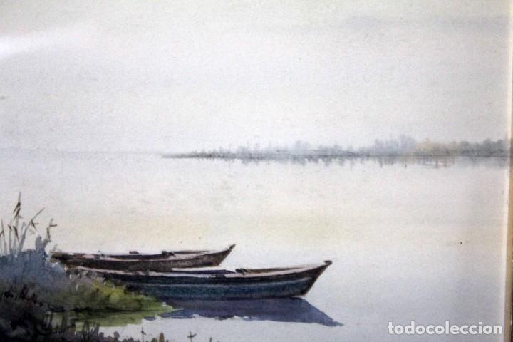 Arte: C. SALA. Acuarela firmada y con cristal. Barcas. 51x43cm(con marco) - Foto 2 - 254033235