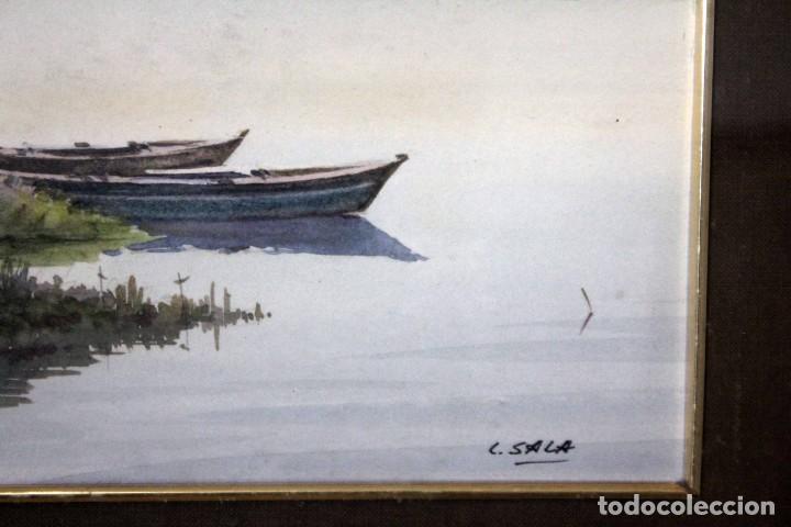 Arte: C. SALA. Acuarela firmada y con cristal. Barcas. 51x43cm(con marco) - Foto 3 - 254033235