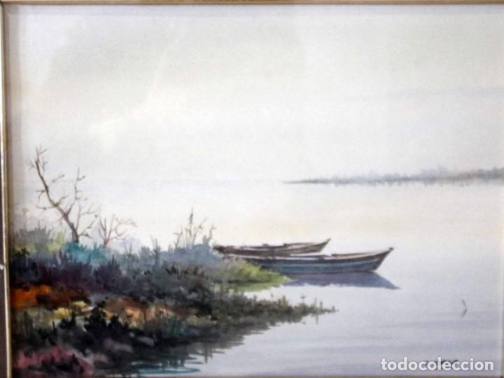 Arte: C. SALA. Acuarela firmada y con cristal. Barcas. 51x43cm(con marco) - Foto 4 - 254033235