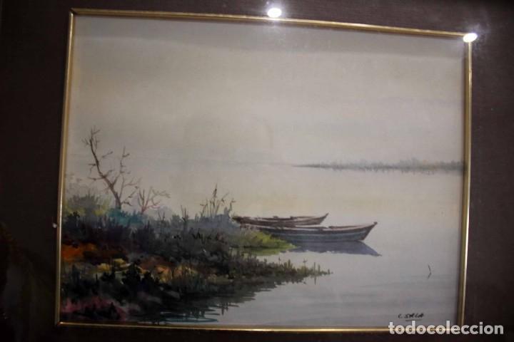 Arte: C. SALA. Acuarela firmada y con cristal. Barcas. 51x43cm(con marco) - Foto 6 - 254033235