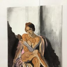 Arte: ANATOMÍA FEMENINA. TINTES Y CARBONCILLO SOBRE TÁBLEX. FOTOS. ORIGINAL.. Lote 254055335