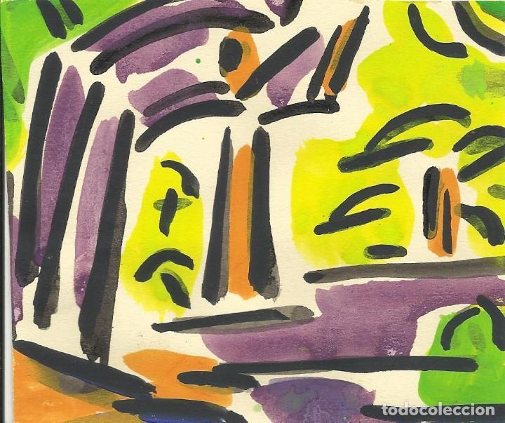 ROSA TORRES. ACUARELA. SIN FIRMAR. PAISAJE. 11X12,5 CM. BUEN ESTADO. NOMBRE Y APELLIDO EN EL DORSO. (Arte - Acuarelas - Contemporáneas siglo XX)