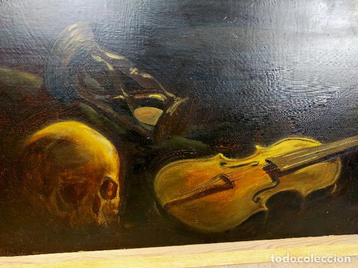 Arte: Oleo vanitas - ver firma - calavera reloj de arena y violin - Foto 2 - 254564525