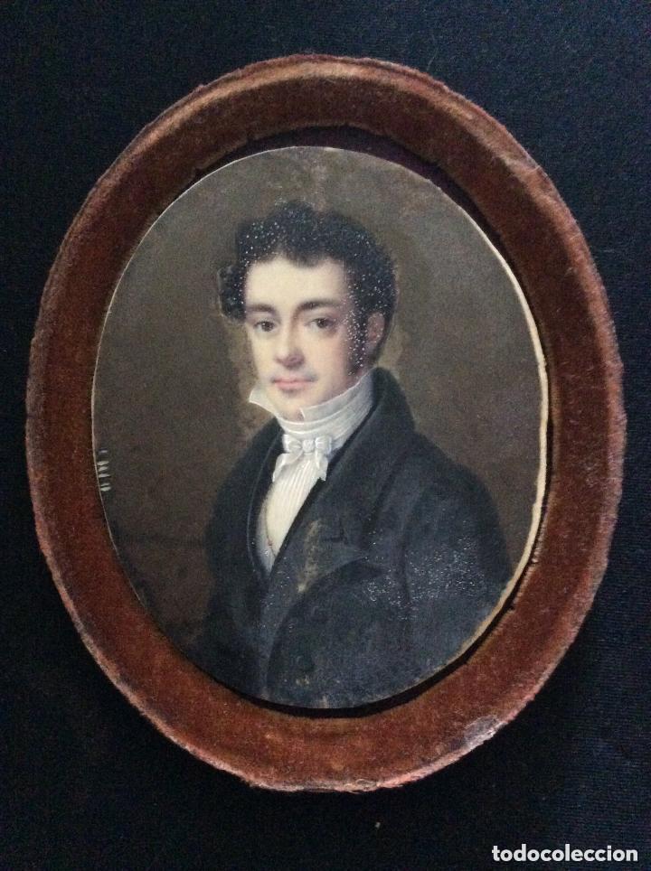 ANTIGUA MINIATURA FRANCESA FIRMADA,JEAN-BAPTISTE-FERDINAND MULNIER (Arte - Acuarelas - Antiguas hasta el siglo XVIII)
