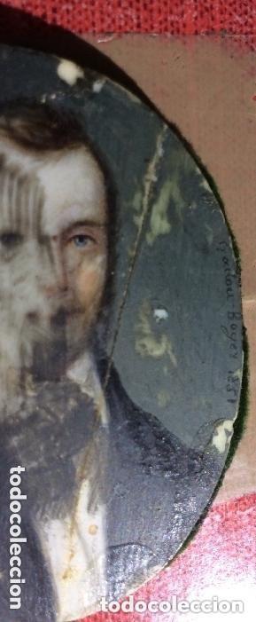 Arte: GADOU-BOYER ,miniatura sobre marfil ,firmada y fechad 1851 - Foto 2 - 254755050