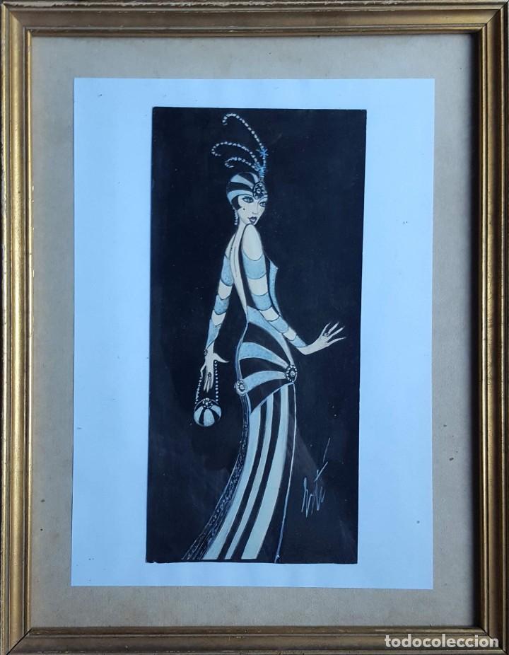 ERTÉ (1892-1990) ROMAIN DE TIRTTOFF (ATRR.) PINTOR RUSO/FRANCÉS. ACUARELA S/PAPEL. (Arte - Acuarelas - Modernas siglo XIX)