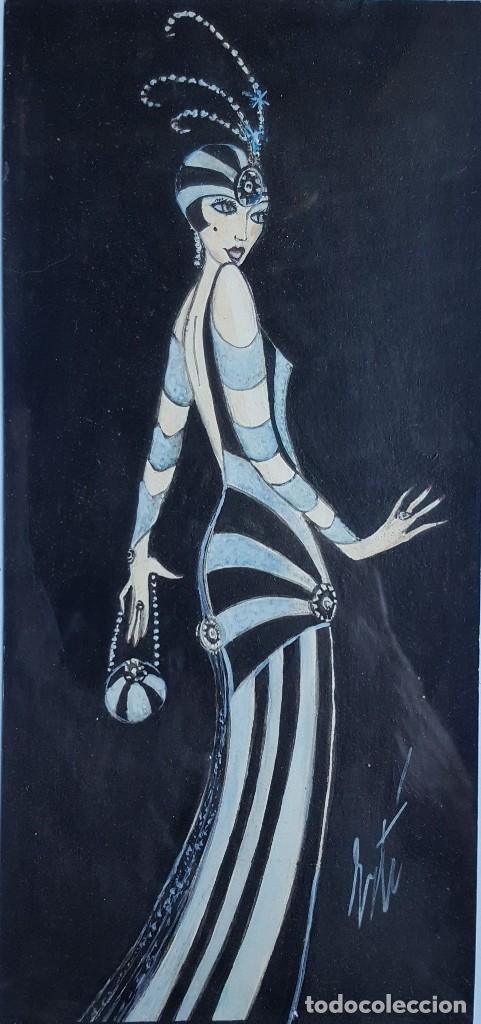 Arte: ERTÉ (1892-1990) Romain de Tirttoff (Atrr.) Pintor Ruso/Francés. Acuarela s/papel. - Foto 2 - 254841465
