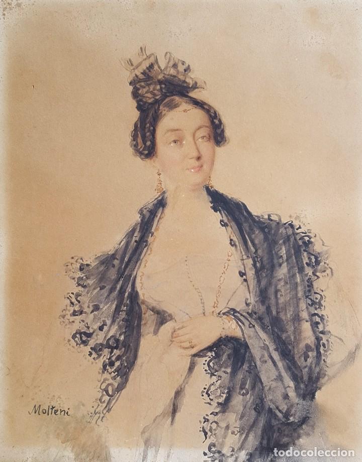 MOLTENI GIUSEPPE (1800-1867) PINTOR ITALIANO. ACUARELA S/PAPEL (TIPO CANSON). (Arte - Acuarelas - Modernas siglo XIX)