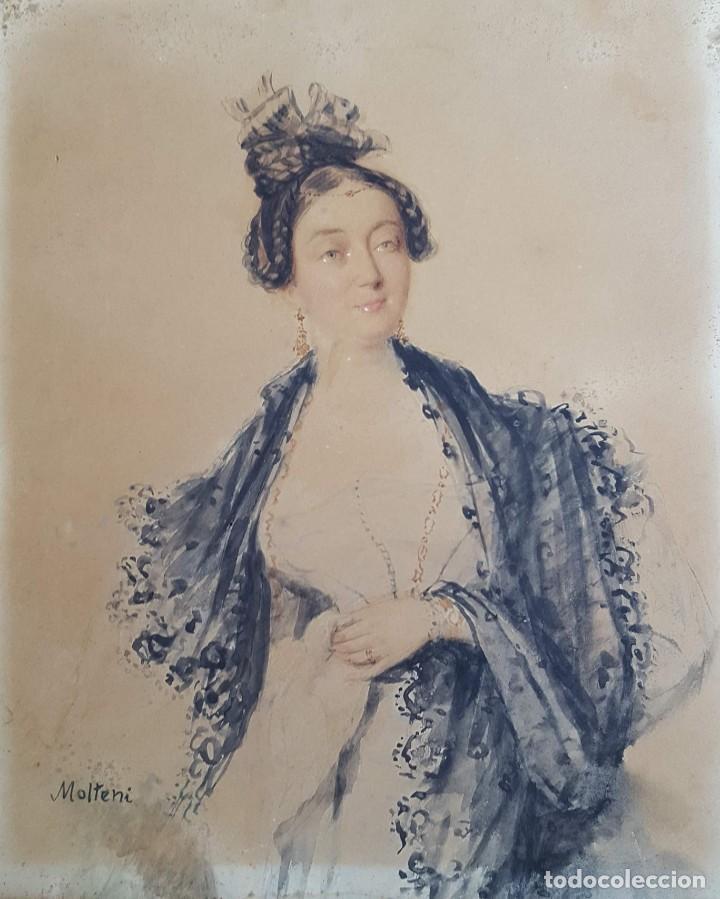 Arte: MOLTENI Giuseppe (1800-1867) Pintor Italiano. Acuarela s/papel (tipo canson). - Foto 2 - 254841815